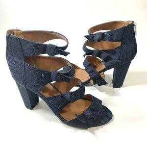 Indigo Rd Size 11 M Blue Denim Bow High Heels 3.5